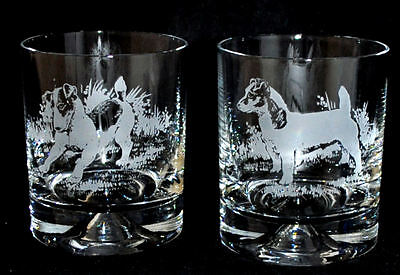 JACK RUSSELL TERRIER *DOG GIFT* Boxed PAIR GLASS WHISKY TUMBLER