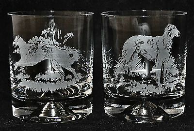 BORZOI / RUSSIAN WOLFHOUND *DOG GIFT*  Boxed PAIR GLASS WHISKY TUMBLER