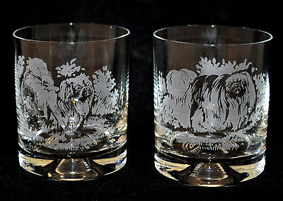 PEKINGESE *DOG GIFT* Boxed PAIR GLASS WHISKY TUMBLER