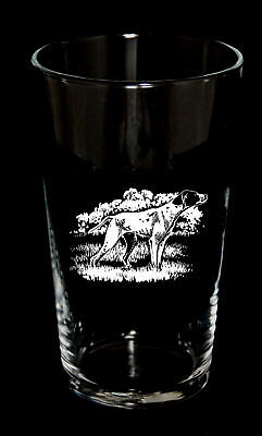 PINT BEER GLASS with ENGLISH POINTER design *Dog Gift*