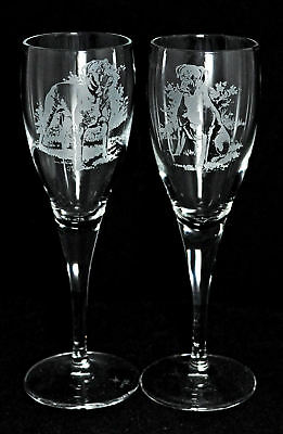 *DOG GIFT* PAIR CHAMPAGNE GLASS with BOXER DOG design