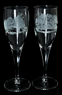 *DOG GIFT* PAIR CHAMPAGNE GLASS with NORWEGIAN ELKHOUND