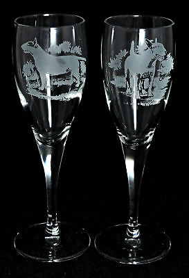 *DOG GIFT* PAIR CHAMPAGNE GLASS with BULL TERRIER
