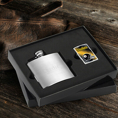 ENGRAVED PERSONALIZED NFL FLASK AND ZIPPO LIGHTER GIFT SET