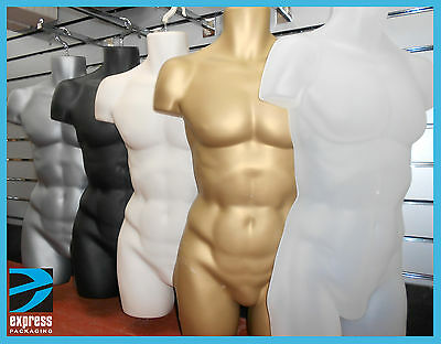 Male Hanging Body Form Full Retail Mannequin SKIN, BLACK, WHITE, GOLD , SILVER