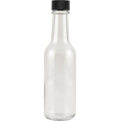 Hot Sauce Clear Glass Dasher Bottle - Empty - 5 oz - Black Screw-on Cap Included