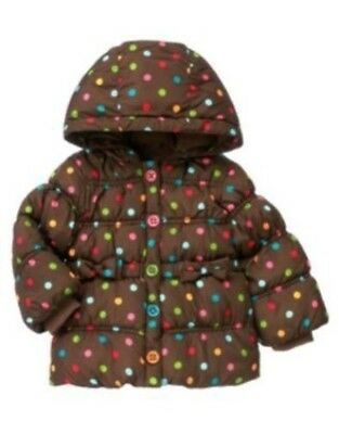 GYMBOREE COZY CUTIE POLKA DOT HOODED PUFFER JACKET 6 12 24 2T 3T 4T 5T NWT