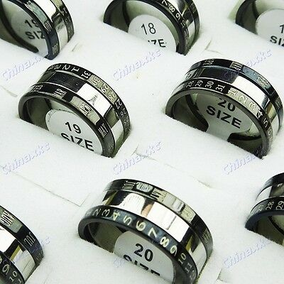 10PCS  Wholesale Jewelry Lots Stainless steel 3 in 1 Calendar Rings Freeshipping