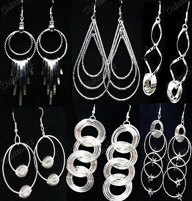 Wholesale Jewelry Lots 10pairs Mixed Silver Fashion Drop Earrings Freeshipping