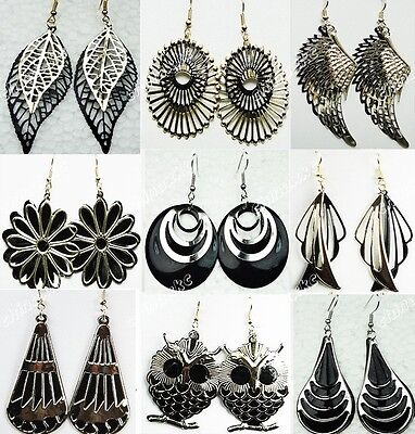 6pairs Wholesale Jewelry Lots Gold Black Fashion Mix Drop Earrings Freeshipping