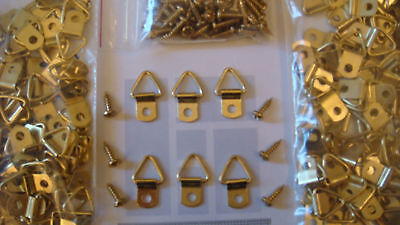 "25 Small Brass Plated Triangle D-Ring Picture Hangers 25 #6 1/2"" Screws + Sample"