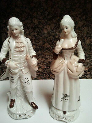 """VICTORIAN VINTAGE FIGURINE OF MAN AND WOMAN SET Approx 9 1/4"""" tall"""