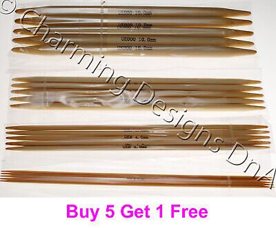 Bamboo Double Pointed Needles DPN Set of 5 - Choice of Length and Size