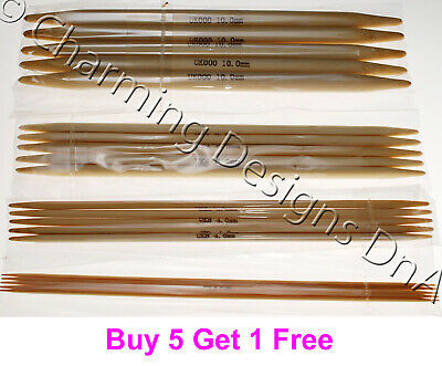 Bamboo Double Pointed Needles DPN's Set of 5 - Choose Length & Size  - UK Seller