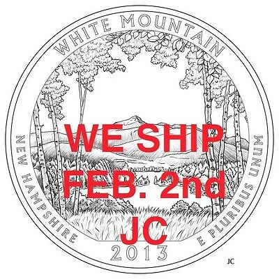 2013 P ROLL White Mountain Quarters New Hampshire NATIONAL FOREST From Mint Bag