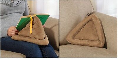Book Pillow, Pyramid Shaped Pillow With Attached Bookmark Holds Books And Tablet