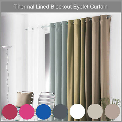 WESTWOOD 100% BLOCKOUT 3 PASS COATED EYELET CURTAIN black latte blue pink red
