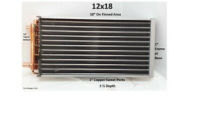 "12x18  Water to Air Heat Exchanger 1"" Copper Ports"