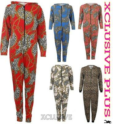 Womens Leopard Chain Print Hooded All In One Suit Jersey Jumpsuit S/M M/L