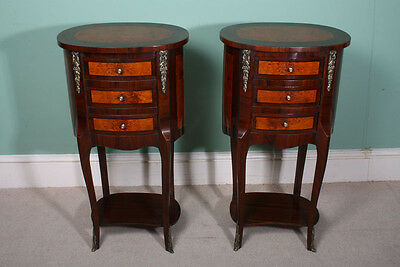 Pair Loius XVI Style Walnut & Maple Bedside Cabinets