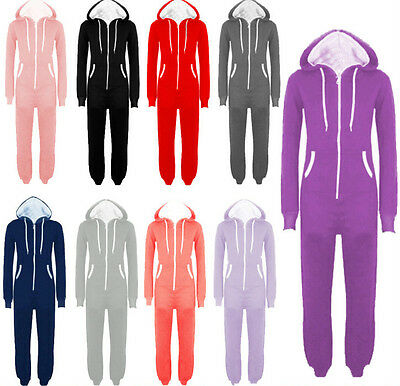 50a0f8557f761 NEW MENS LADIES Hooded Plain All In One Piece Jumpsuit Playsuit ...