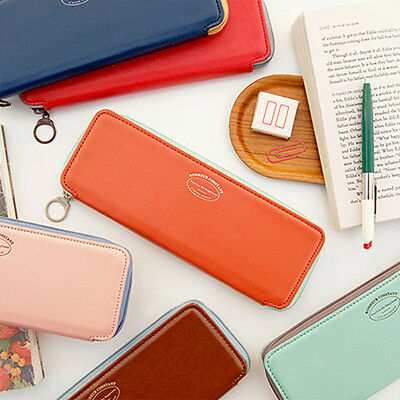 Iconic Synthetic Leather Pen/Pencil Case L_Zip Around/Elastic Band/Simple