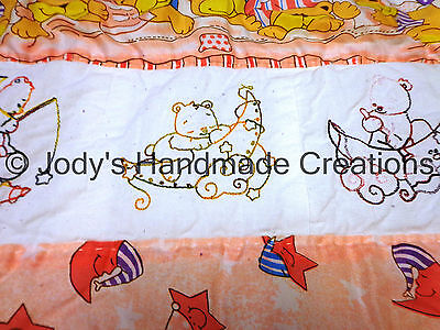 Handmade Baby Quilt /Embroidered Sleepy Bears 38 X 57