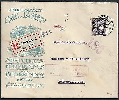 Sweden 1918 cens special R-cover Stockholm to Bodenbach
