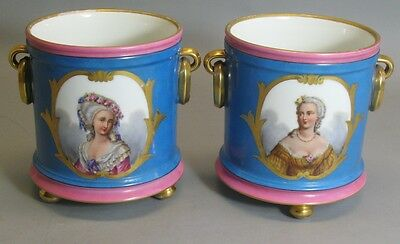 Fine & Rare 19th C. French Old Paris Porcelain Wine Buckets c. 1850  art sevres