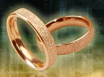 "4mm Deluxe Stainless Steel ""FROSTED ROSE GOLD"" Women's Band Ring-w/Gift Pouch"