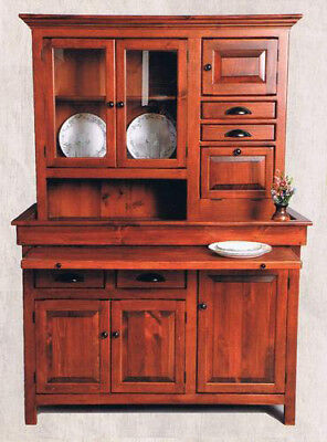 Large Pine Hoosier Cabinet, USA made Antique Reproduction, Chestnut Finish