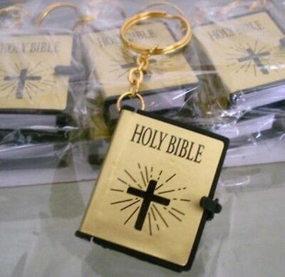 MINI Holy BIBLE MINIATURE KEY CHAIN Keyring CRAFT VBS Christian Jesus Gold Cover