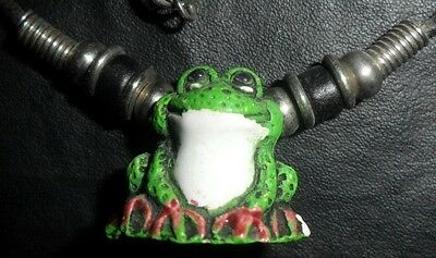 Cute Resin Frog Charm Pendant with Leather Like Chain Nice Condition LOOK H