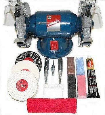 "200W Bench Grinder, 6"" Metal Grinding and 4"" Metal Polishing Kit"