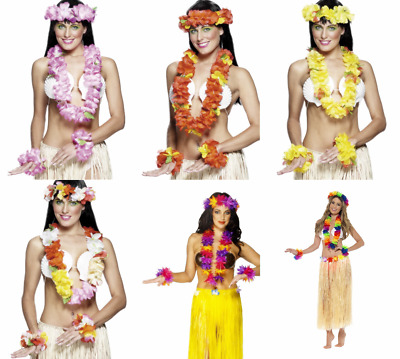 Hawaiian Leis Set Hula Flower Luau Aloha Garland Lei Necklace Headband Bracelet