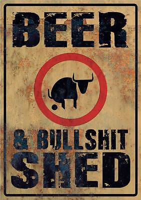 Beer & Bullsh*t shed  sticker large 7 yr water & fade proof vinyl man cave
