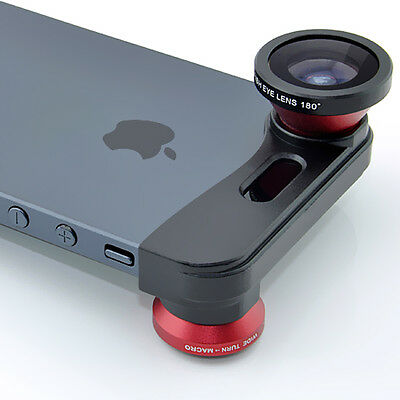 3-in-1 180° Fish Eye Fisheye + Wide Angle + Macro Lens Kit for iPhone 5 5s