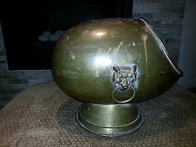 Antique, BRASS Hearth/Fireplace Coal Ash Kettle/Hod Scuttle/Bucket Box