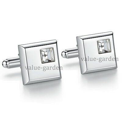 High Quality Mens Silver Square Crystal Wedding Cufflinks for Business Shirt
