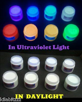 Set of 8 colours Invisible UV Ultraviolet blacklight Visible Paint 60ml or 100ml