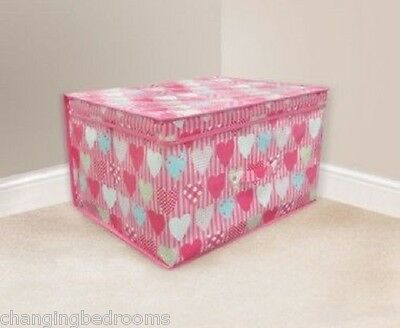 GIRLS PINK HEARTS DESIGN CHILDRENS / KIDS TOY STORAGE BOX  50 x 40 x 30 cms