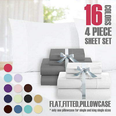 Queen&King Size 4 Piece Bed Sheet Set,Flat,Fitted,Pillowcase(15 Color Available)