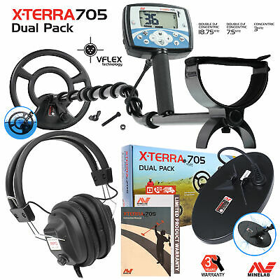 Minelab X-Terra 705 Dual Pack Metal Detector with 2 Coils & RPG Headphones