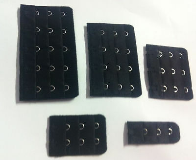 BLACK Bra Extenders *CHOOSE a CLIP ON bra extender with 1 2 3 4 or 5 hooks !