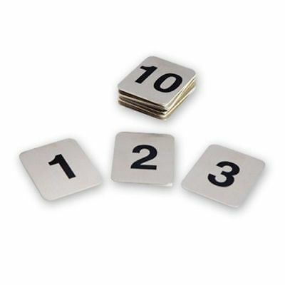 Table Numbers, Set of 1-10, Adhesive, Stainless Steel, 40 x 50mm
