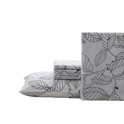 Leaves Fitted Sheet+Flat Sheet+2 Pillowcases Set Double/Queen/King Size Bedding