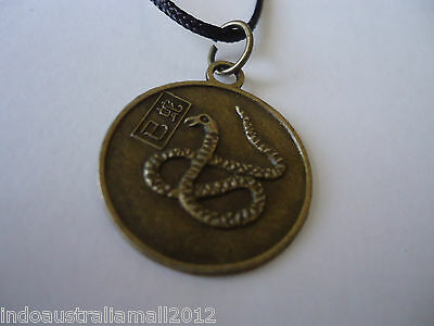 Bronze Metal Snake and Quan Yin  Zodiac Fortune  Pendant  on Black Cord