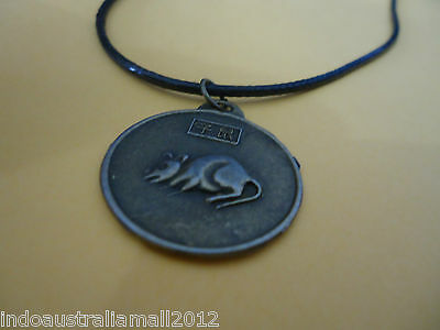 Chinese Bronze Rat and Quan Yin Horoscope Zodiac Fortune Pendant on Black Cord