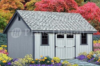 Storage Shed Plans 16' x 16' Gable Roof Style #D1616G, Material List Included