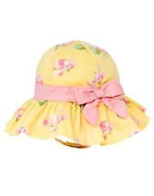 Gymboree Petite Pedals Yellow Flower & Pink Bow Sun Bucket Hat 0 3 6 12 18 Nwt